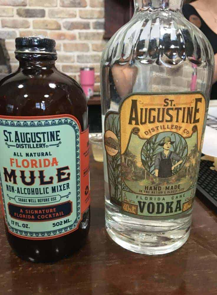 Vodka and florida mule mix at the st. Augustine distillery