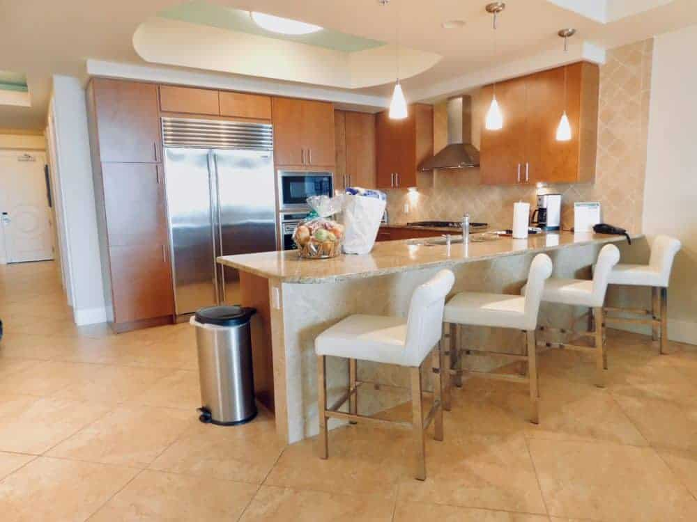 The modern gourmet kitchen in a Turqouise Place vacation condo.