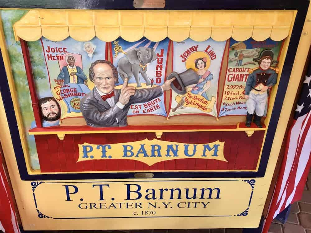 A tile on the Empire State Carousel celebrates New York native son P.T. Barnum promoting his circus.