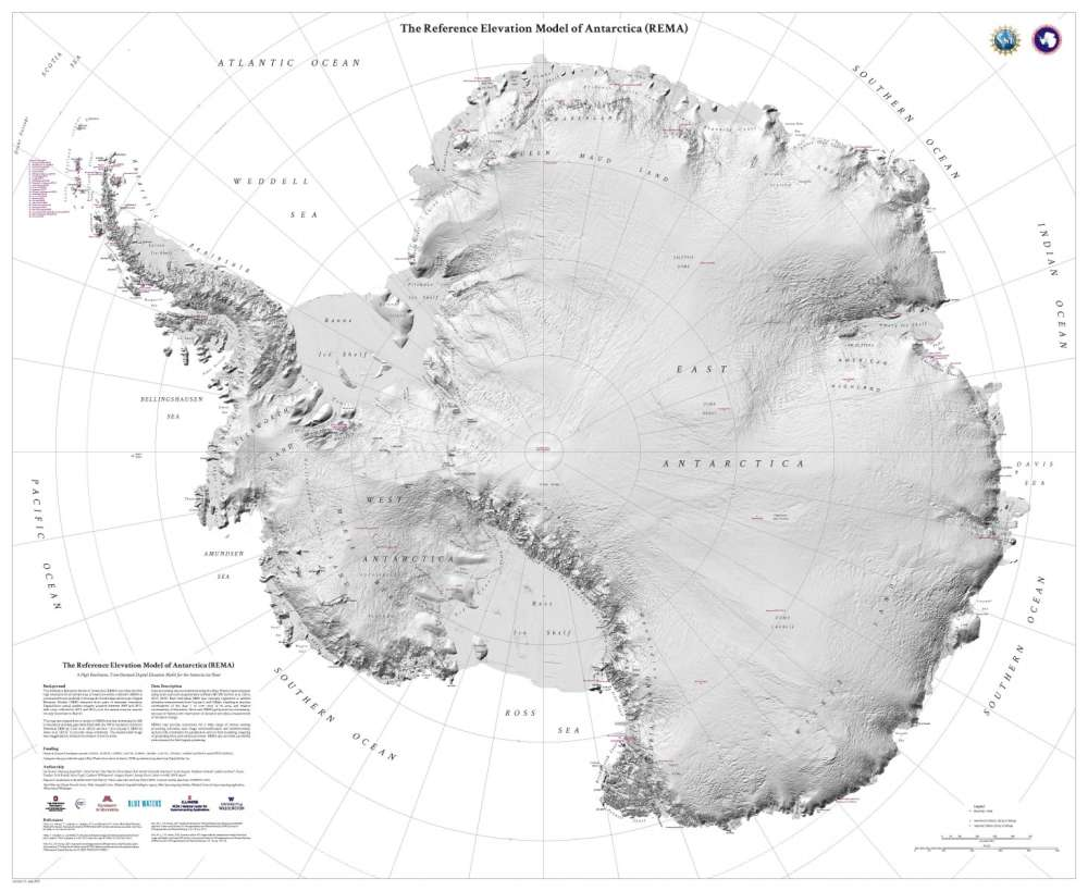 The Reference Elevation Model of Antarctica (REMA).