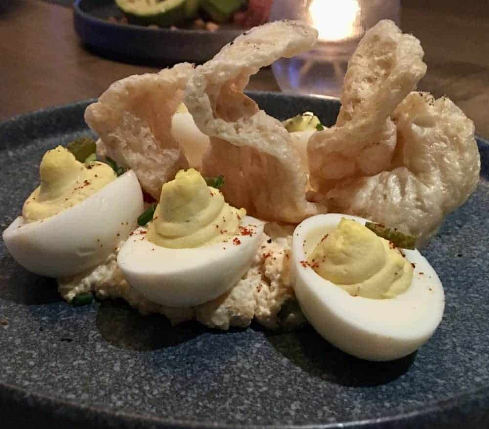 deviled eggs with pimento cheese at Perch at the Gulf State Park Lodge