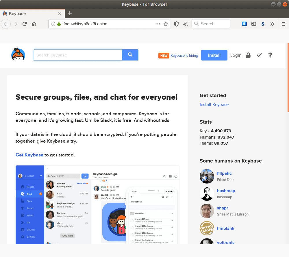 Onion homepage for Keybase.