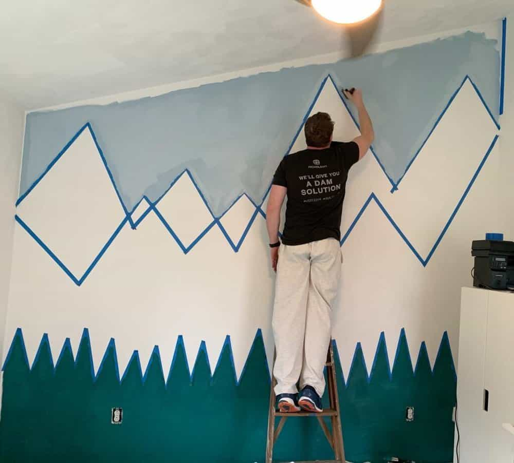 painting the mountain wall- halfway