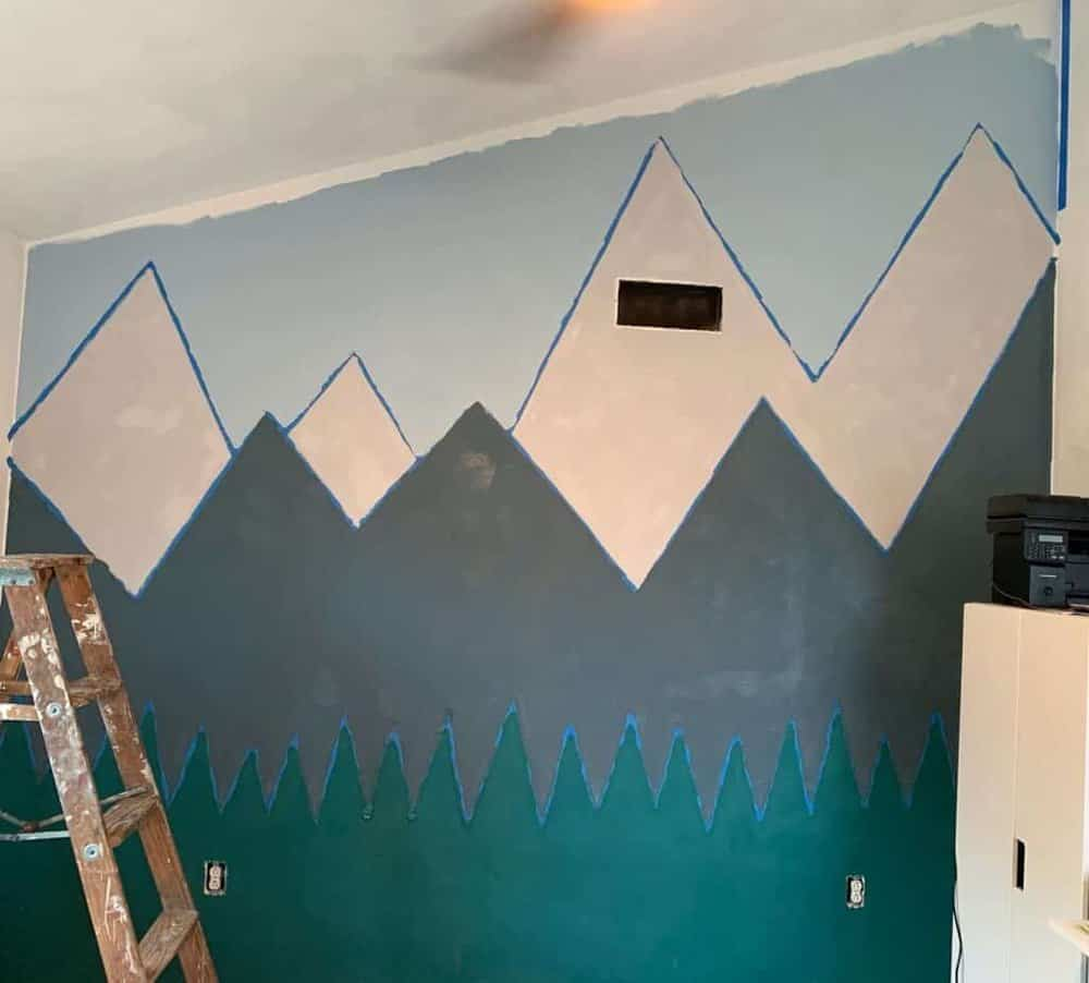 painted mountain wall during quarantine