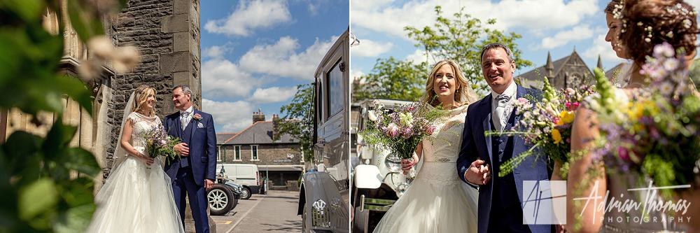 Bride and her father arrive at St Catherines church in Pontypridd