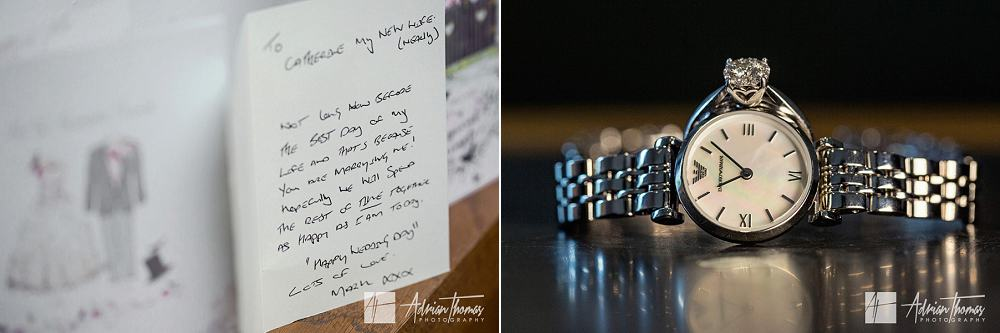 Gift of a watch and card from brides husband to be