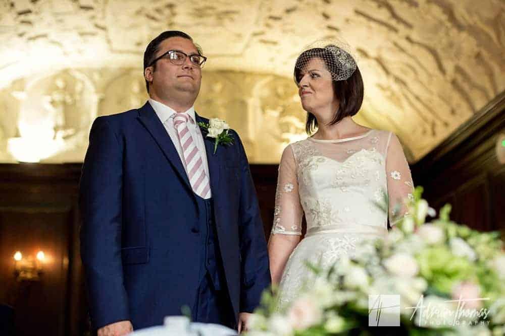 Bride and groom inside wedding room