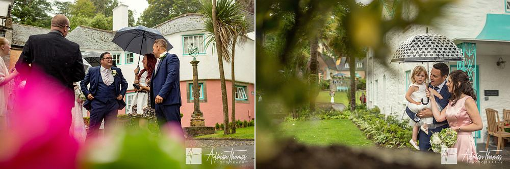 Guests mingle in gardens of Portmeirion Village