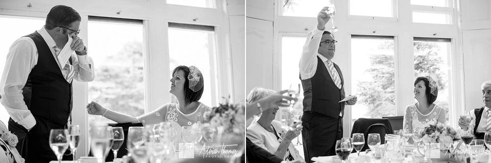 Emotional groom during his speech