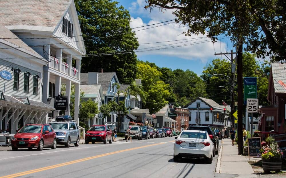 downtown Wilmington, VT on a summer day