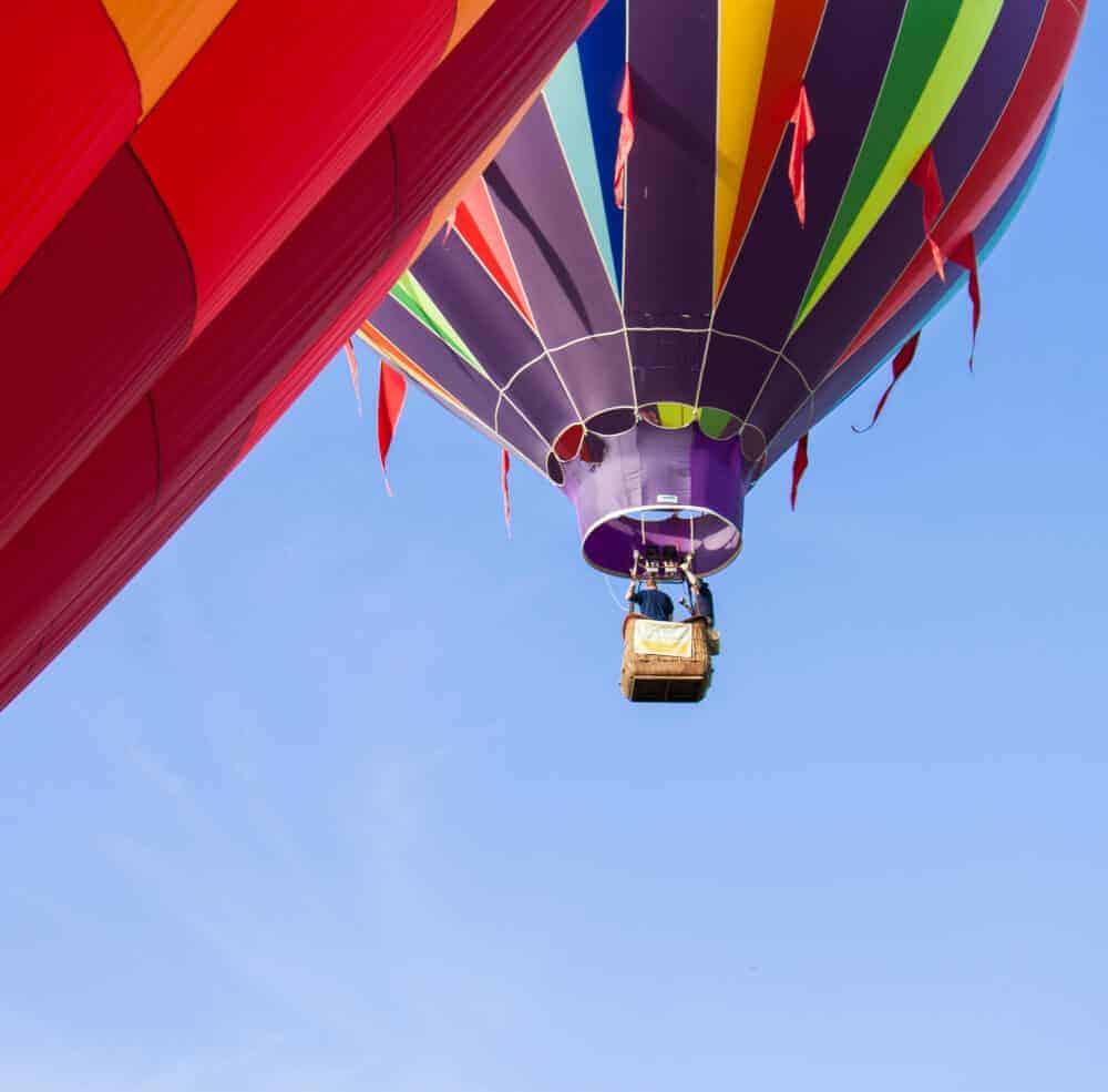 Colorful hot air balloons close-up