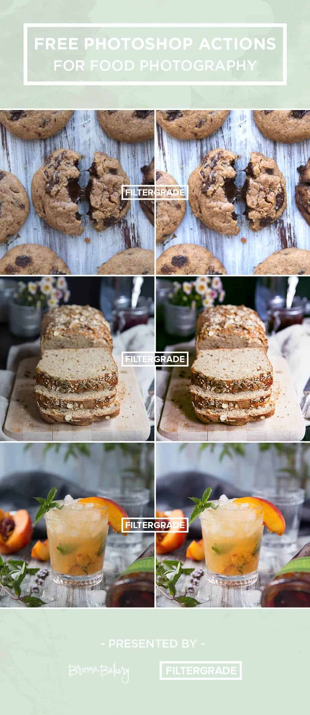 Transform your photographs instantly with free Photoshop actions for food photography!