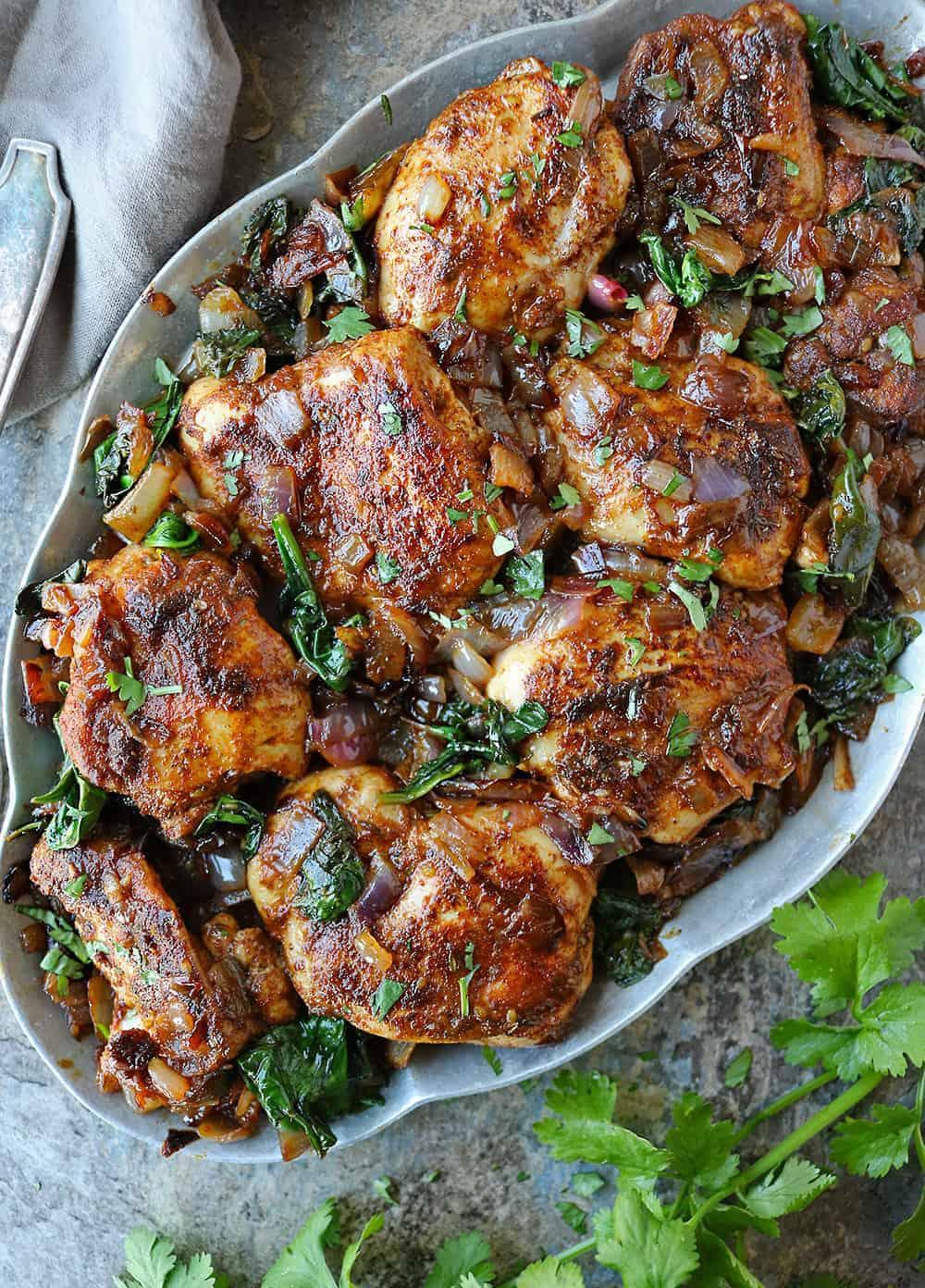 Easy Za'atar Ras-el-hanout Chicken Spinach Dinner