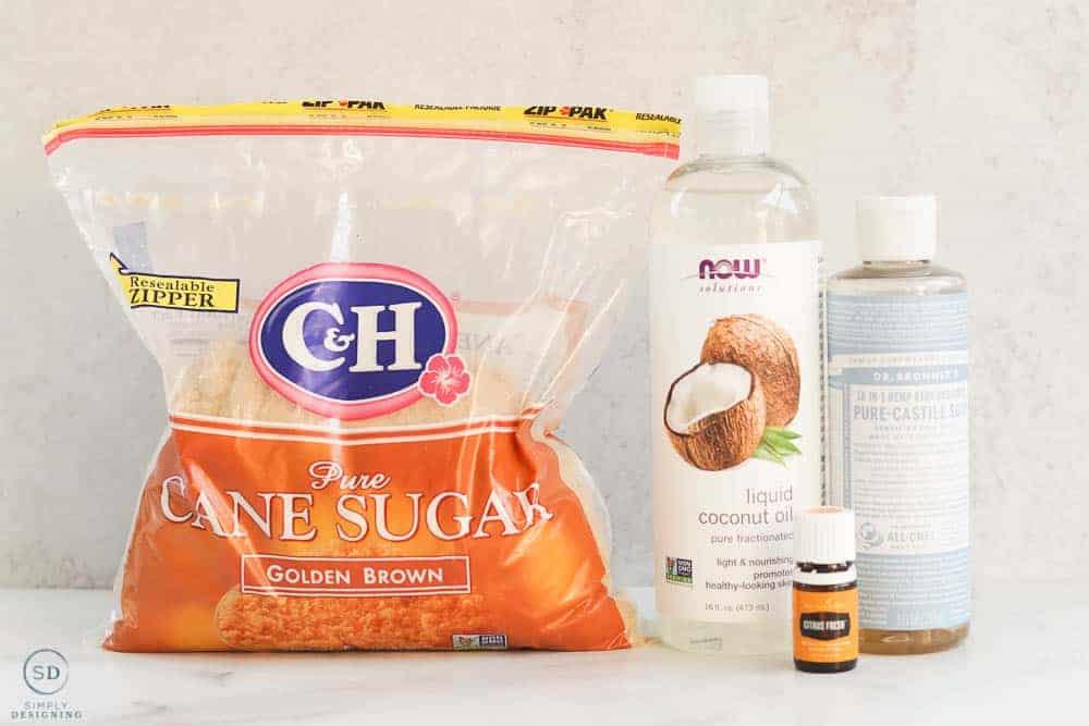 brown sugar coconut oil castile soap and citrus fresh essential oil