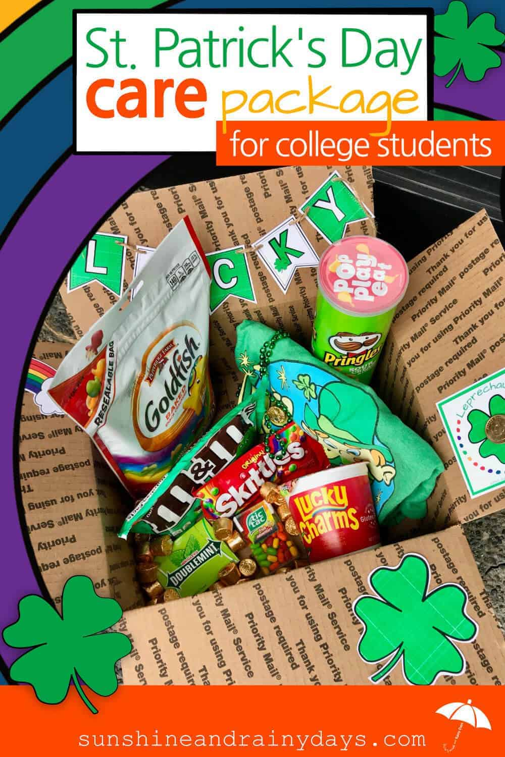 Help your college student celebrate St. Patrick's Day with a St. Patrick's Day Care Package! Don't let your college kid get pinched by a tricky leprechaun! Send them LOTS of GREEN!