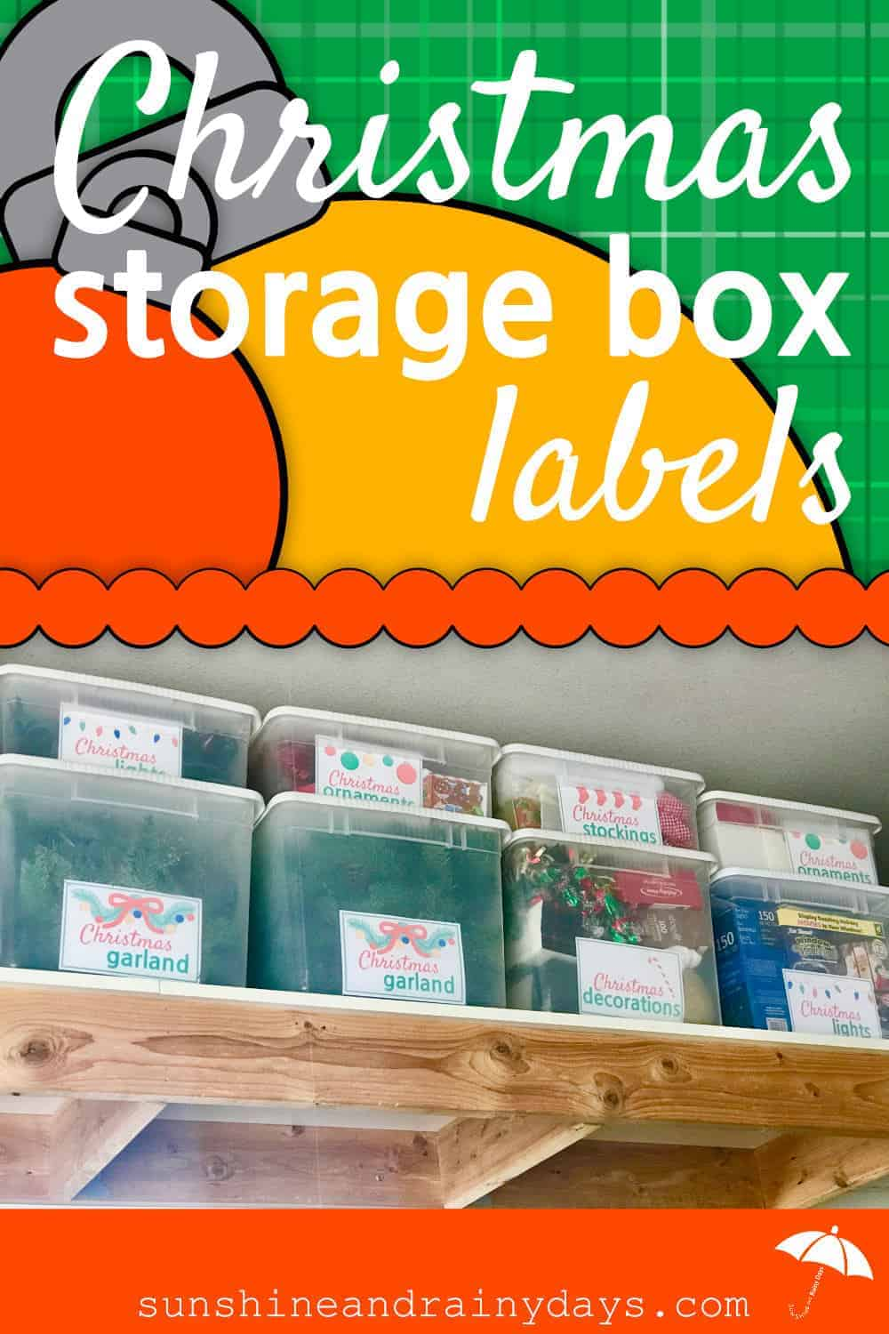 Christmas Storage Box Labels help you organize your Christmas decorations!