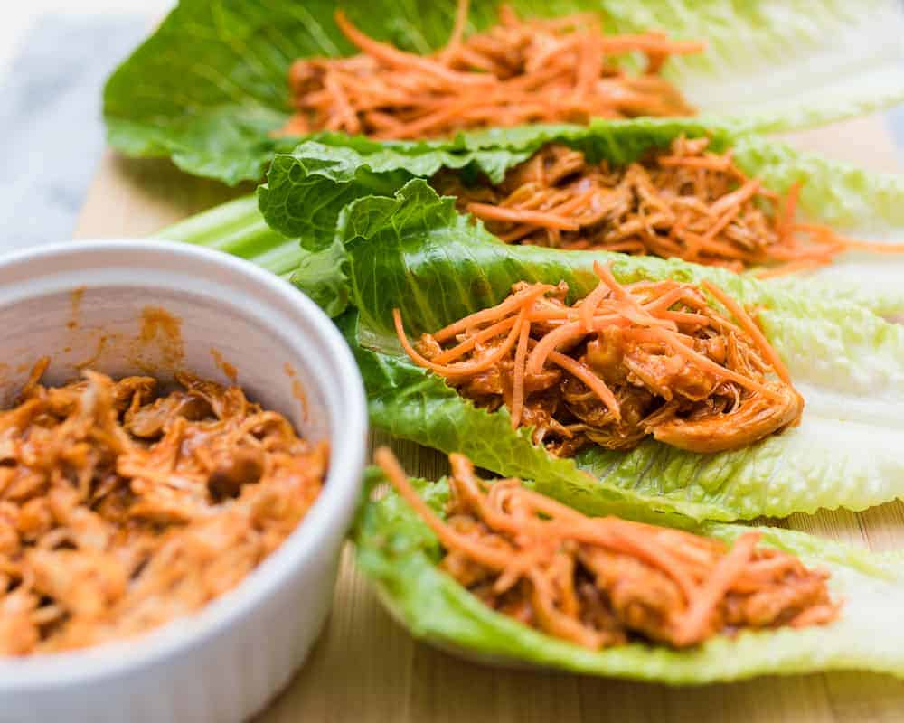 slow cooker buffalo chicken lettuce wraps with shredded carrots