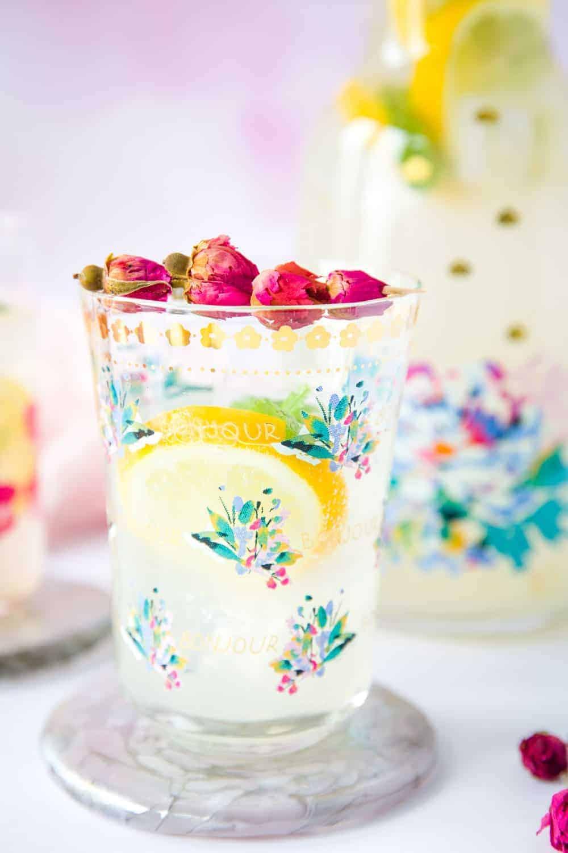 A glass of lemon cordial