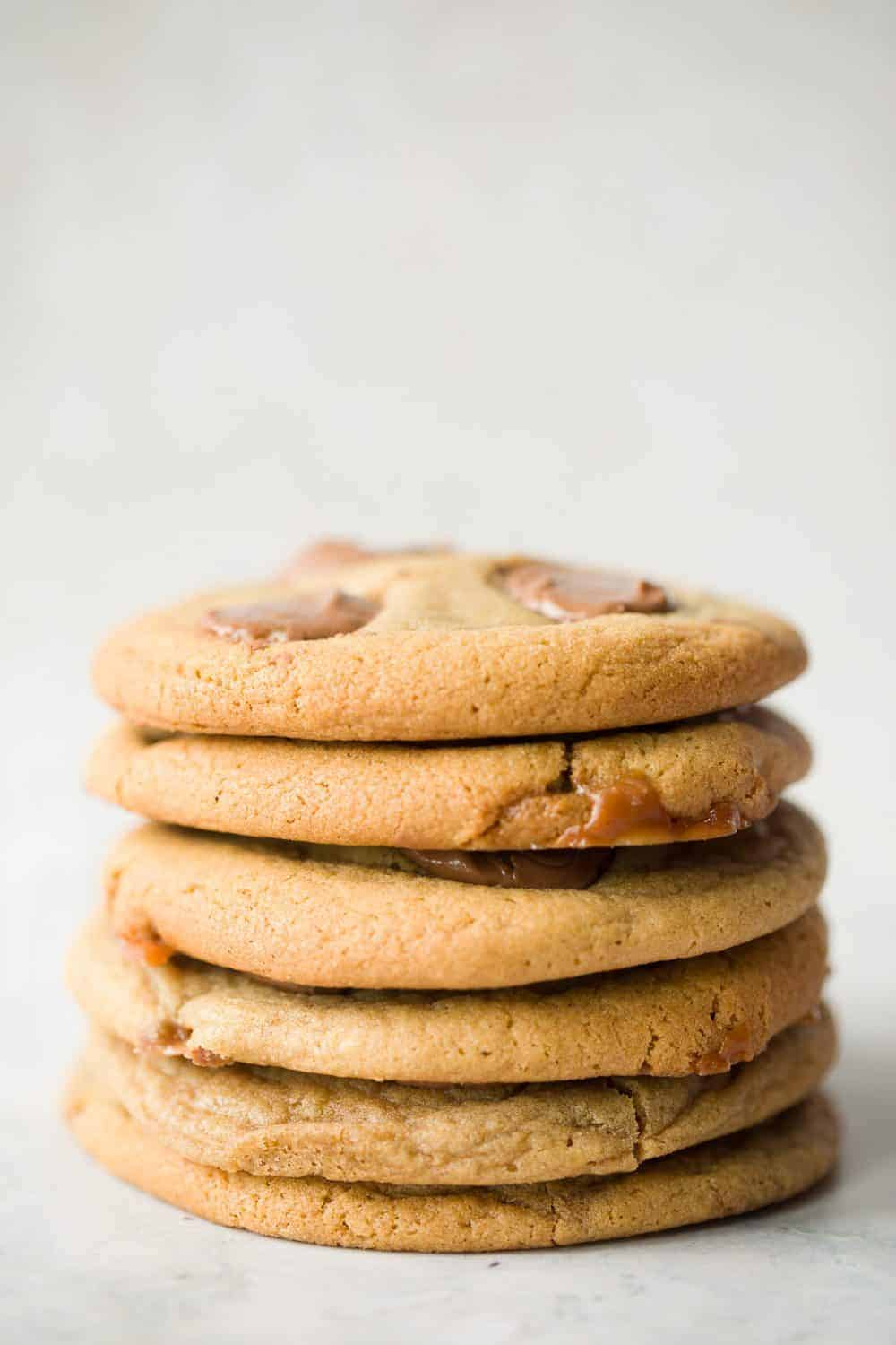 A stack of 6 large cookies.