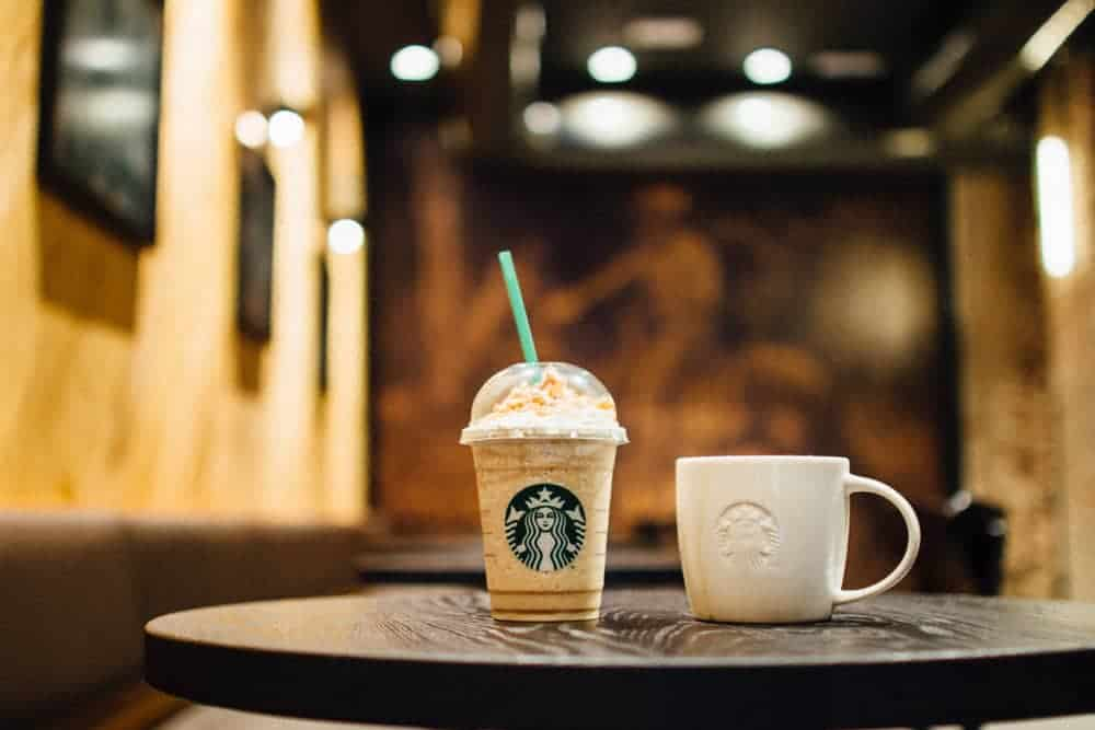 A Starbucks Frappuccino topped with whipped cream