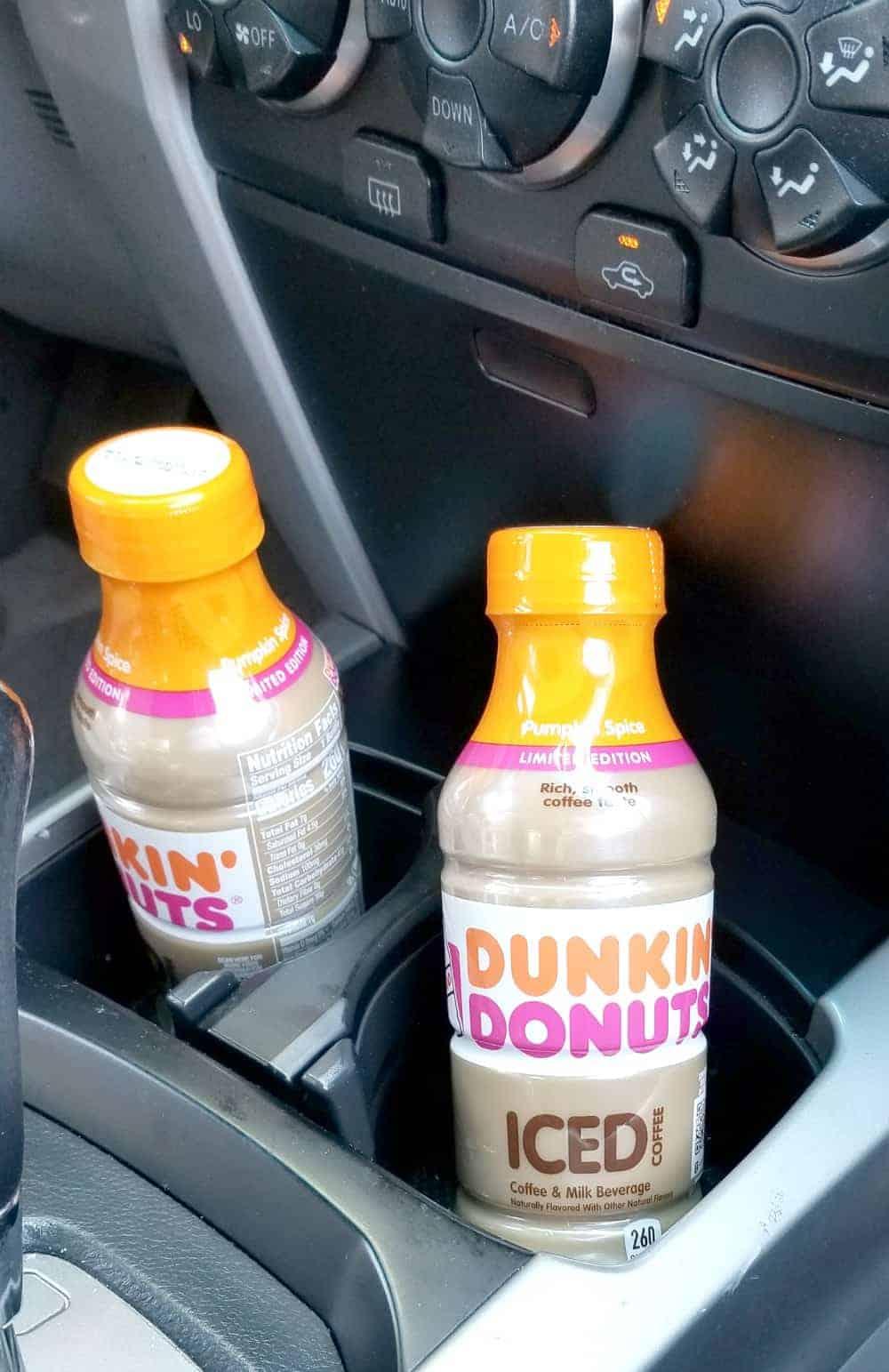 Last Minute Road Trip Essentials |Dunkin' Donuts Bottled Iced Coffee Pumpkin Spice