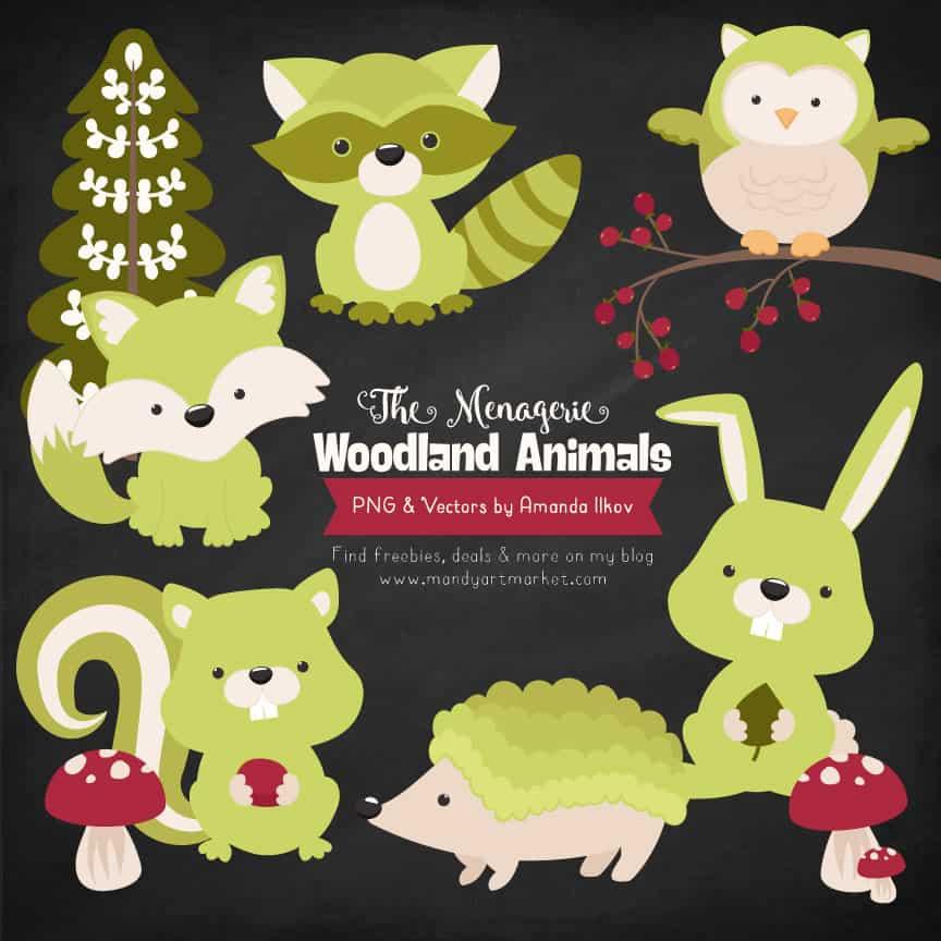 Bamboo Woodland Animals Clipart