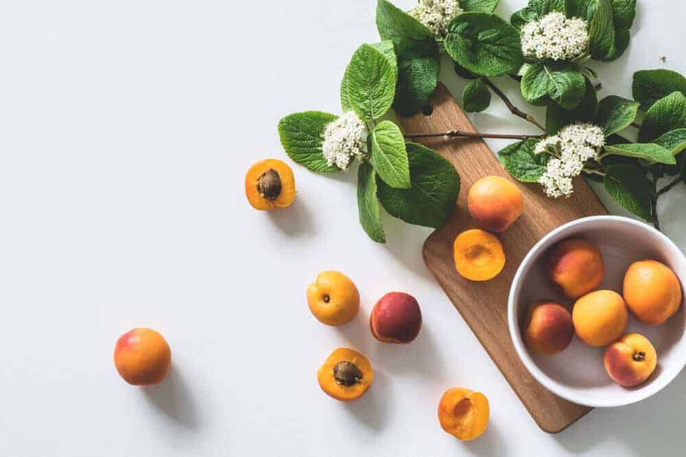 Flat lay photography apricots and white space
