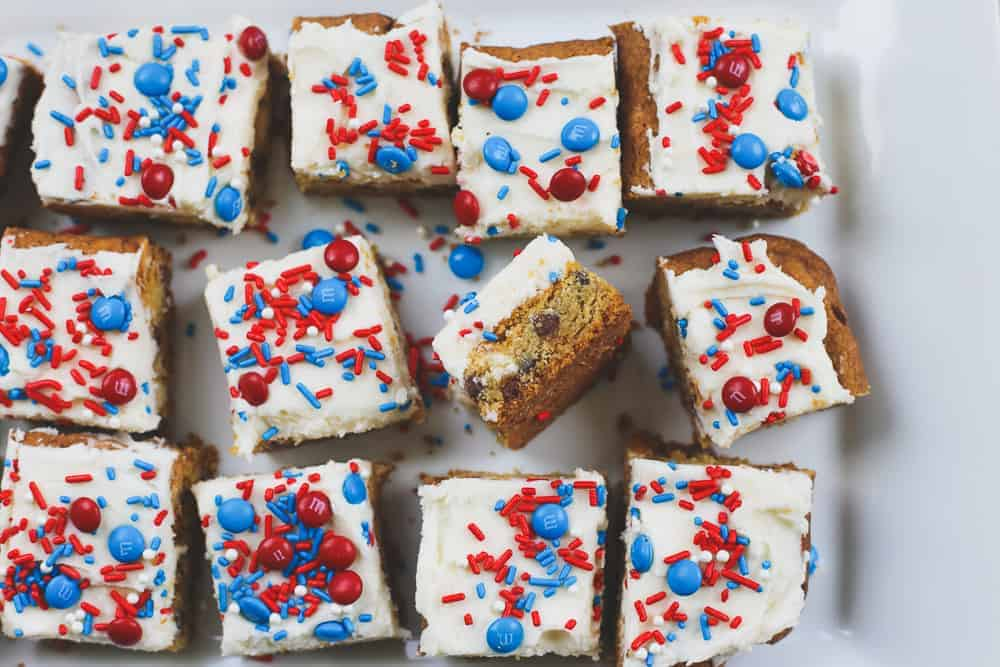 Red White and Blue Chocolate Chip Bars