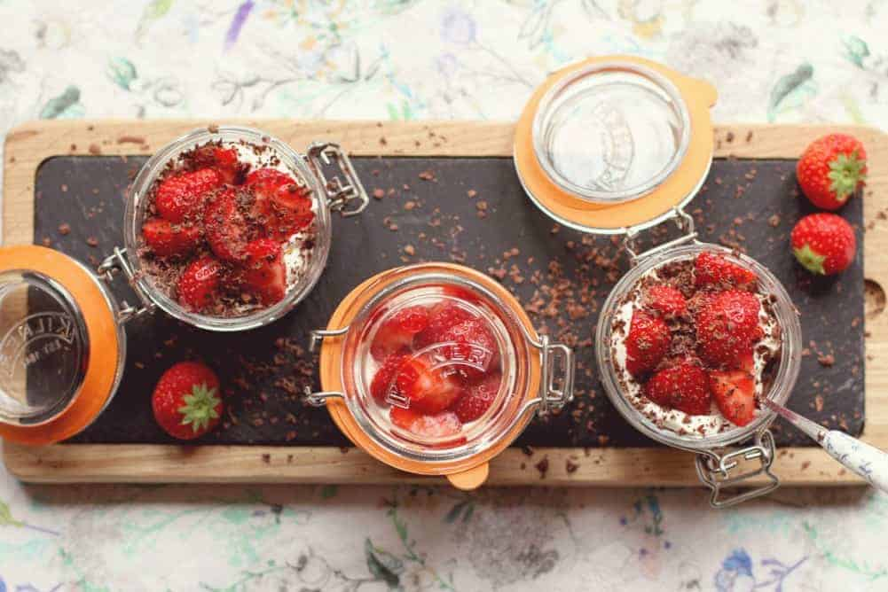An alternative to Eton Mess made with chewy dark chocolate meringue