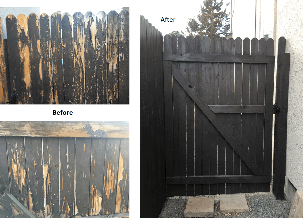 before and after picture of a fence staining project