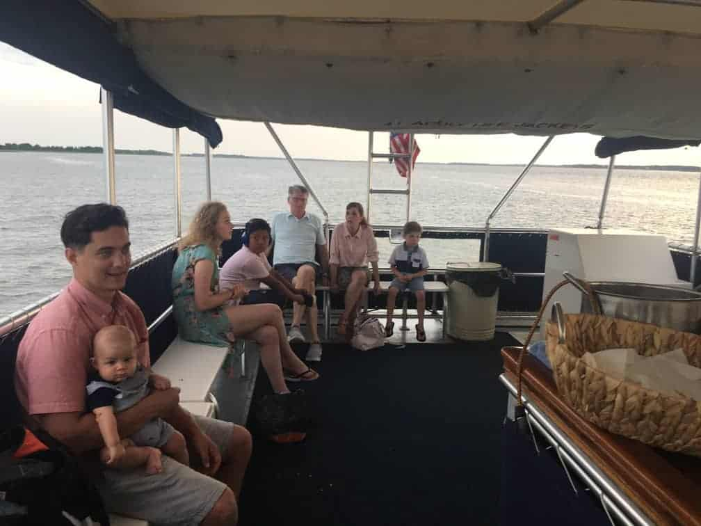 Group of people all ages enjoying the party boat. Party boat rental Charleston, SC
