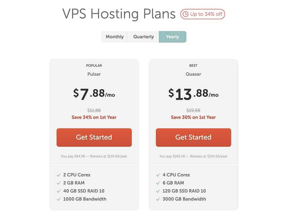 Namecheap VPS hosting plans