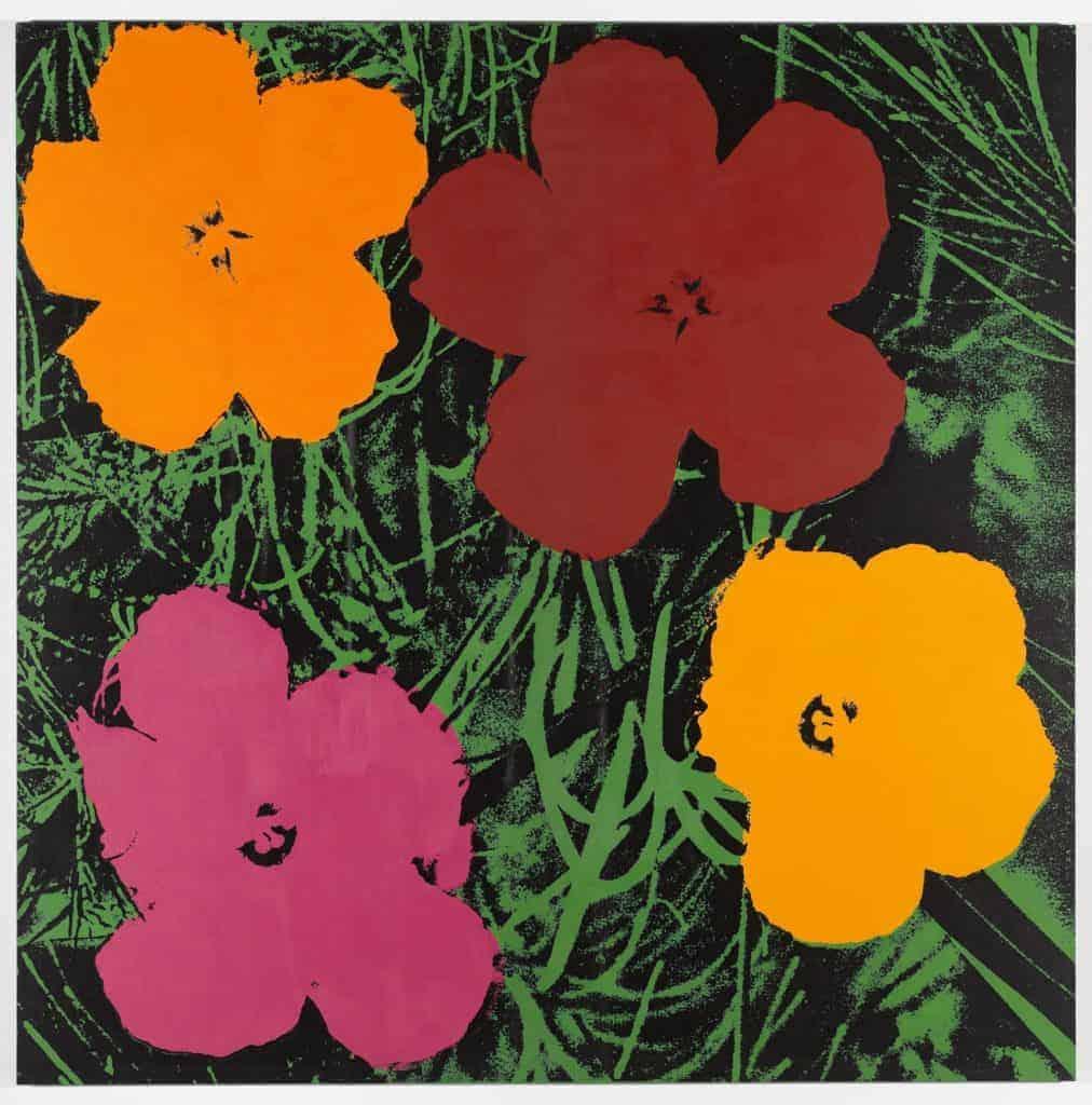 appropriation art. Elaine Sturtevant, Warhol Flowers, 1990.