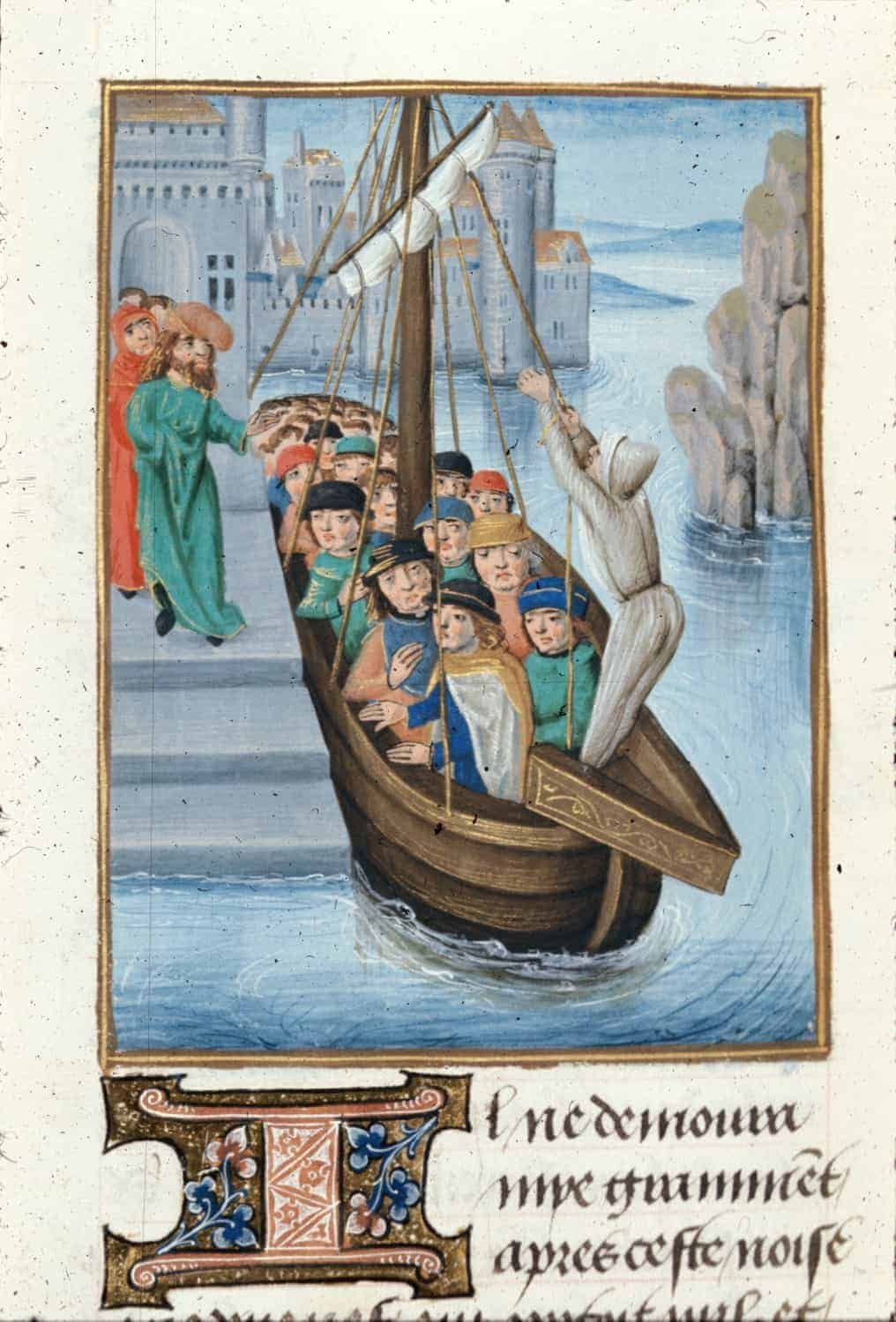 Ship of pilgrims arriving to Damietta, British Library MS Royal 15 E I f. 404v, Histoire d'Outremer or Historia rerum in partibus transmarinis gestarum by William of Tyre, c. 1479-c. 1480