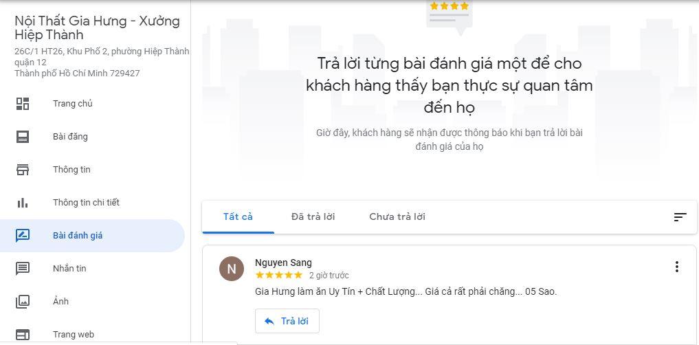 Anh Sang review Nội Thất Gia Hưng - Xưởng Hiệp Thành trên Google Maps