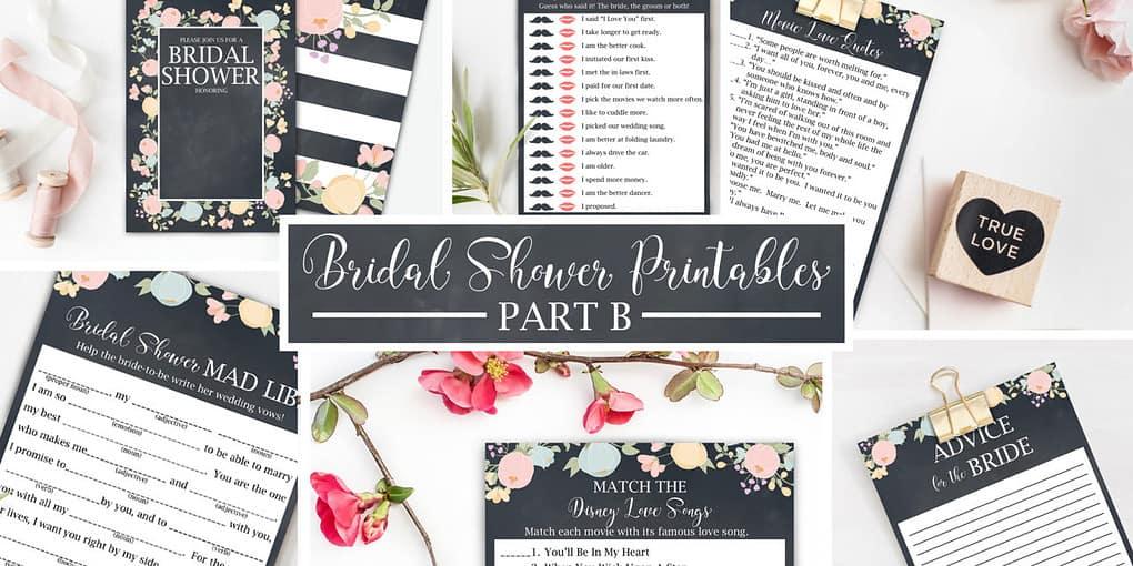 Free Bridal Shower Printables Part B