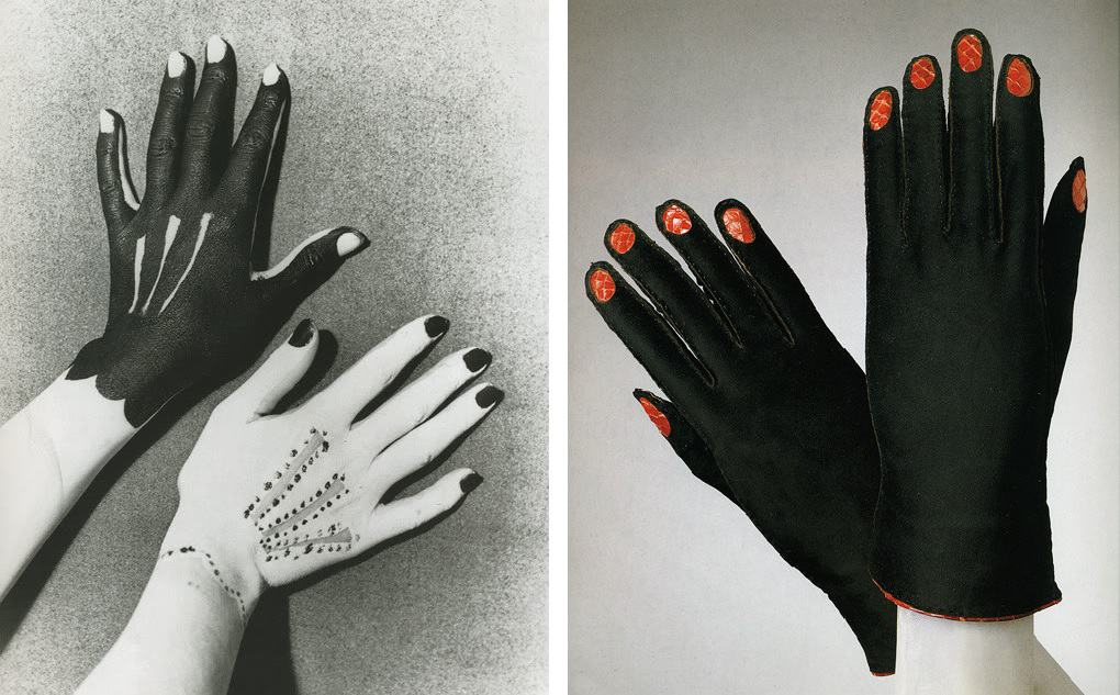 Man Ray, Hands Painted by Picasso (1935) and Trompe l'oeil leather gloves, Schiaparelli Haute Couture (1936–1937)