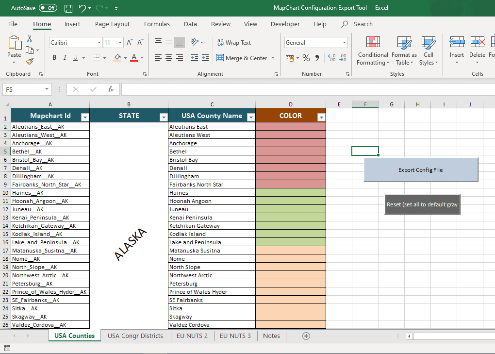 set color in excel to make a map on MapChart