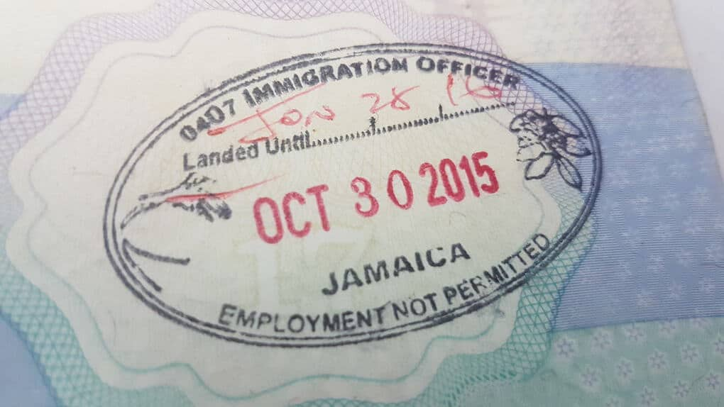 Jamaica Arrival Stamp for UK Passport Visa Free countries to visit