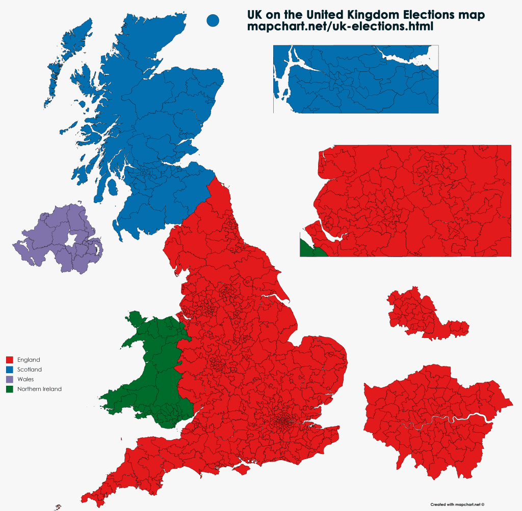 United Kingdom Election map showin England, Wales, Scotland and N Ireland parliamentary constituencies