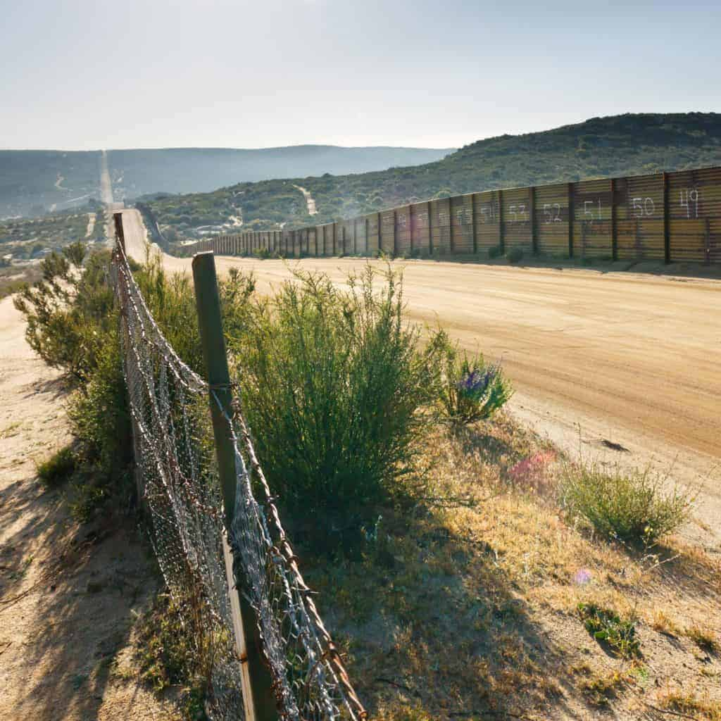 Border fence in desert