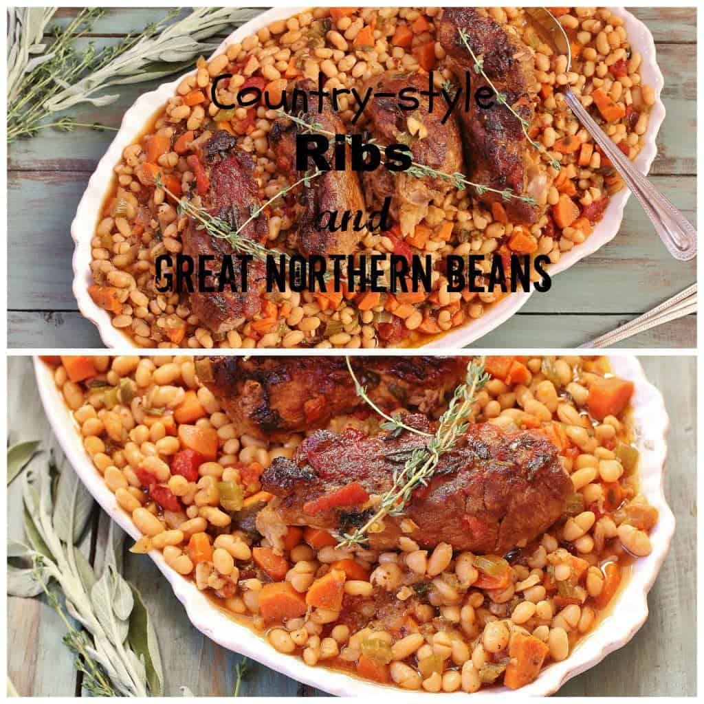 Country-style Ribs and Great Northern Beans. A one dish meal made with country-style ribs, Great Northern beans and vegetables. Turn leftover beans and vegetables into a soup by simply adding chicken stock and pureeing to desired consistency.