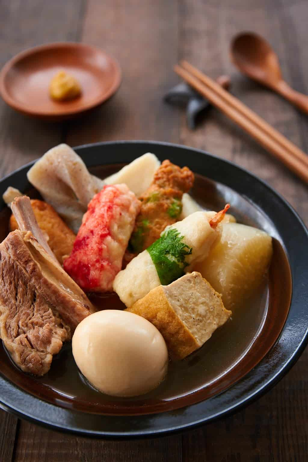 Oden is the quintessential Japanese comfort food. With meat, tofu, daikon, boiled eggs, and konnyaku simmered in dashi stock, it will warm you up from the inside out.