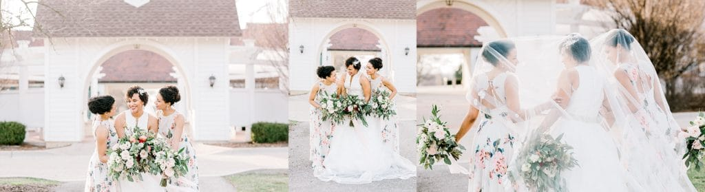 bride and her bridesmaids gigling holding flowers in danada house venue