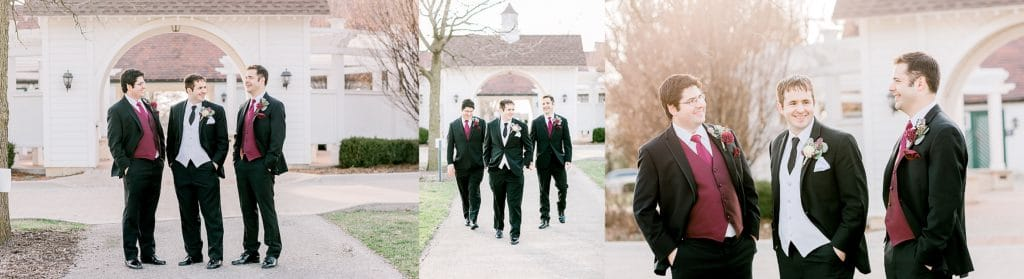 groom and groomsman portraits in front of dananda house in Naperville IL