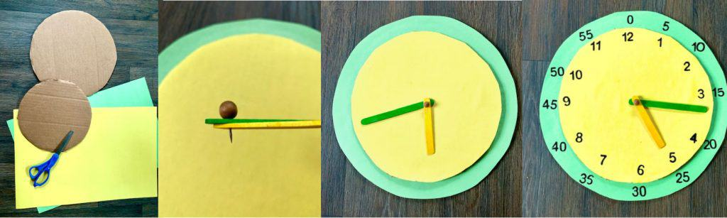 instruction photos for making a cardboard clock