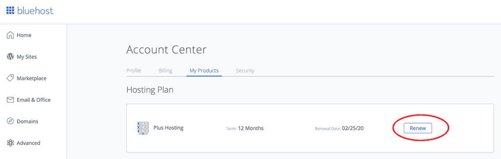 bluehost renewal button
