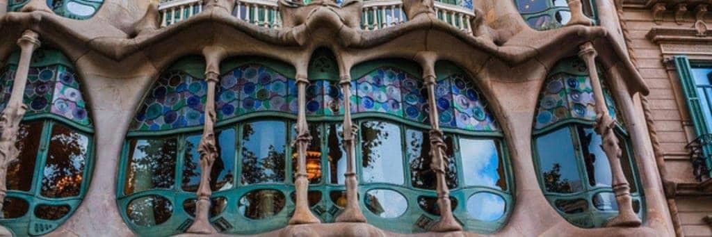 Building facade by Antoni Gaudi, Barcelona.