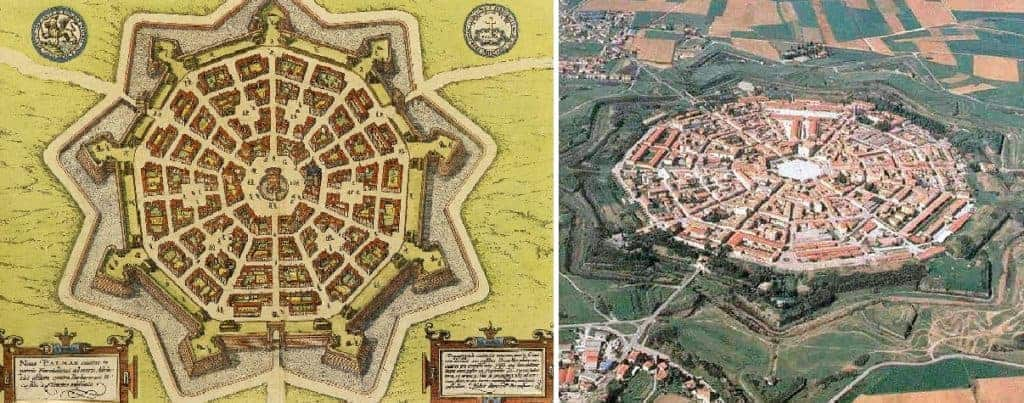 Ancient map and aerial view of Palmanova