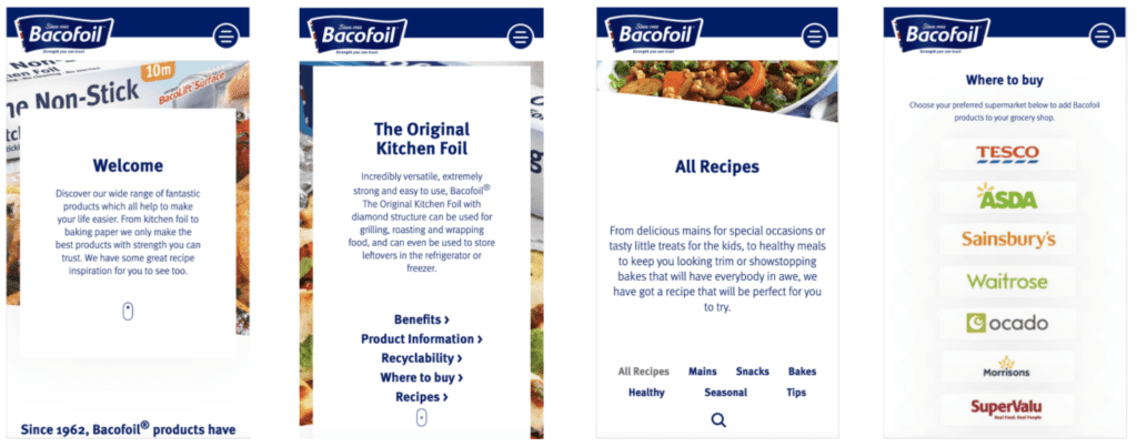 Bacofoil mobile website